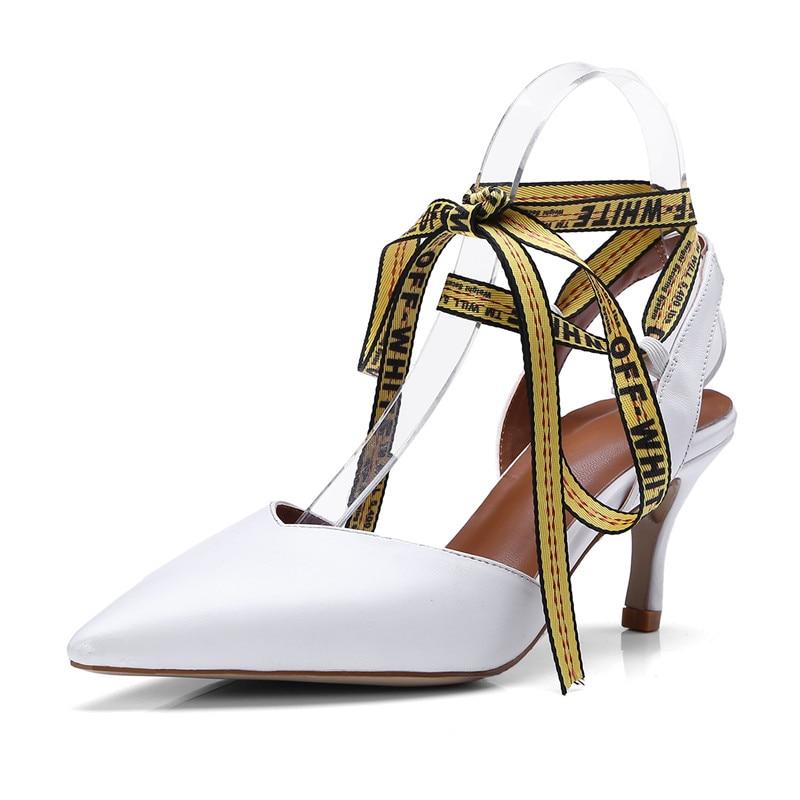 Pointu De Femme Chaussures Hauts Cuir Mince white Cr850 Vache Souliers Sangle Enmayer Tendance À Ouvertes Sandales En Black Talons D'été Femmes 0YAZxqdn