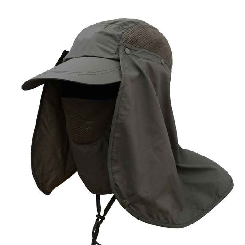 7c4d3ba1f26 Outdoor Sport Hiking Camping Visor Hat UV Protection Face Neck Cover  Fishing Sun Protect Cap Vissende