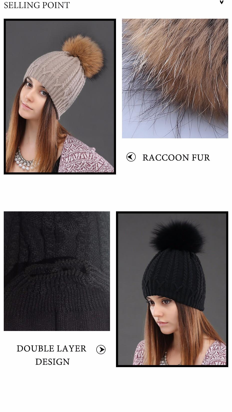 406ad4fbbca Women Double Deck Knitted Wool Hat Winter Natural Raccoon Fur Warm ...