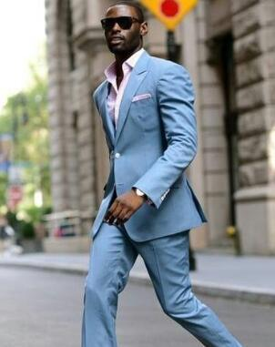 2018 Latest Coat Pant Designs Light Blue Linen Casual