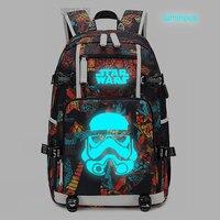 New Star Wars Backpack laptop bag Men Travel bags USB cat teather Luminous Oxford Backpack schoolbag