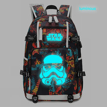 New Star Wars Backpack laptop bag Men Travel bags USB cat teather Luminous Oxford Backpack schoolbag