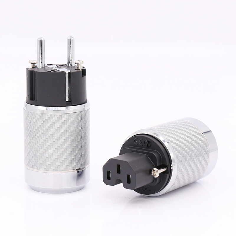 Free shipping Carbon Fiber EU Mains Power Plug IEC Plug Rhodium Plated Connector hifi free shipping one pair rhodium plated us mains power plug carbon fiber connector cable cord