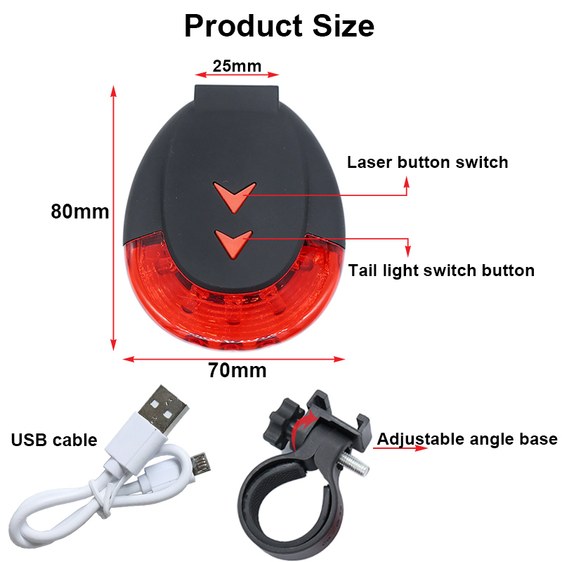 FTW Bicycle Tail Light USB Rechargeable 10 Line Laser Bike Rear Light Night Cycling safety warning Back LED Lamp Waterproof