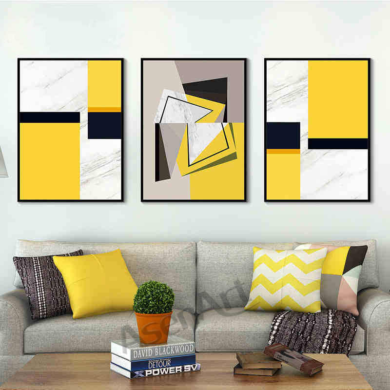 Modern Art Wall Abstract Simple Yellow Geometry Canvas Painting Artwork Pictures Printed for Living Room Home Decor Unframed