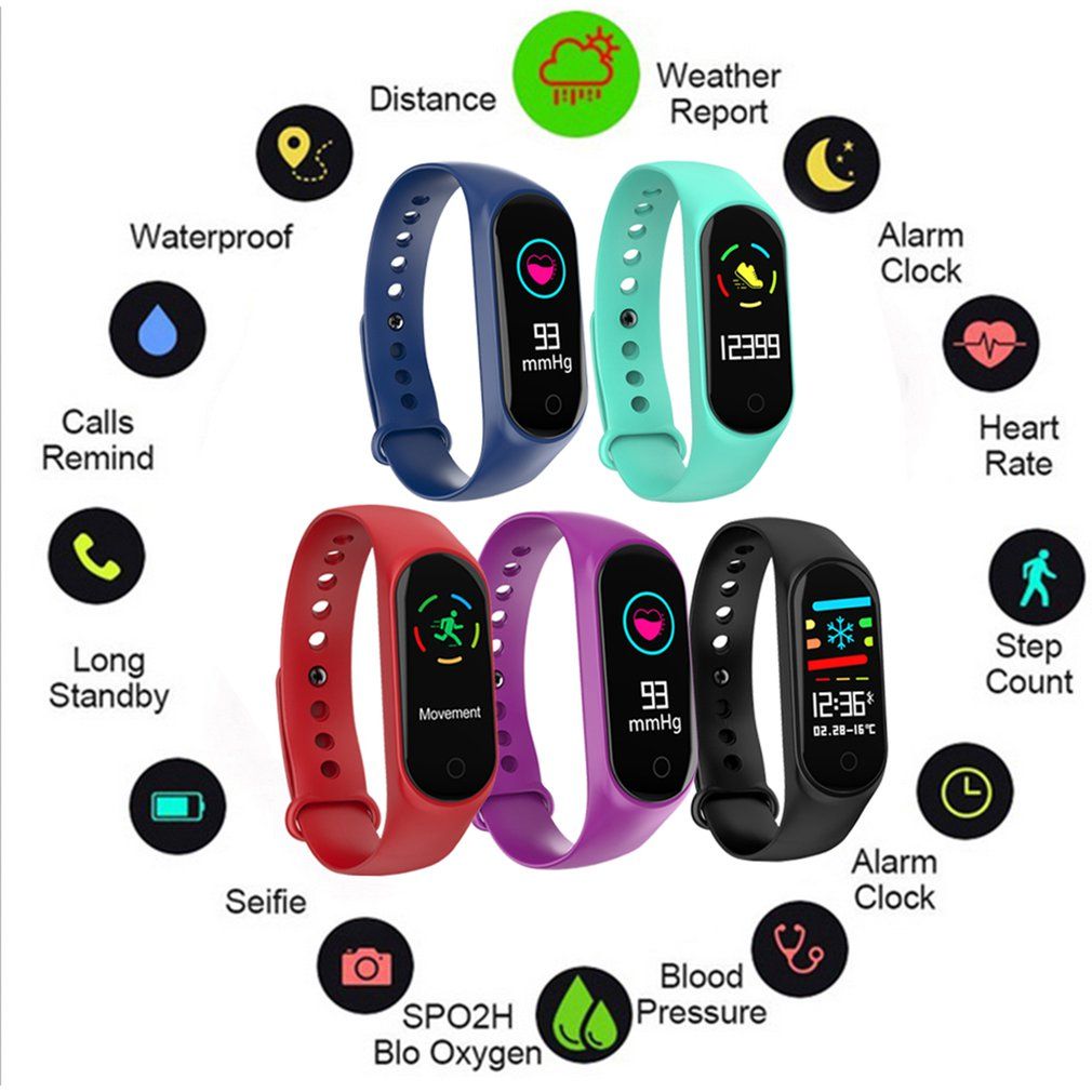 Fashionable Smart Bracelet Bluetooth Smart Watch Waterproof M3S Smartwatch Lightweight Heart Rate Wrist Watch Outdoor