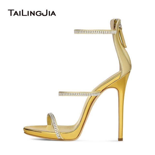 High Heel Sandals with Three Straps Crystal Stiletto Heel Dress Shoes Rose  Gold Slim Platform Heels 234e182b37b8