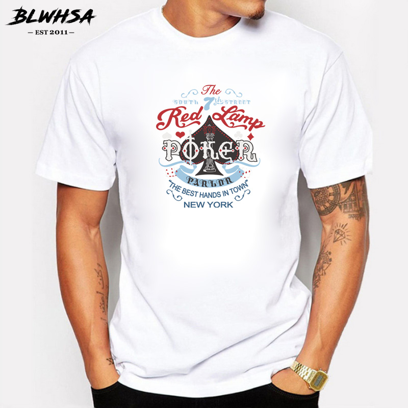 BLWHSA New Design Red Lamp Poker Printed T Shirts for Men Short Sleeve the Best Hands in Town New York Men T-shirts Brand Tee ...