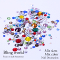 Non HotFix Mix Size Nail Art Rhinestones With Round Base For Nails Shoes And Wedding Decoration