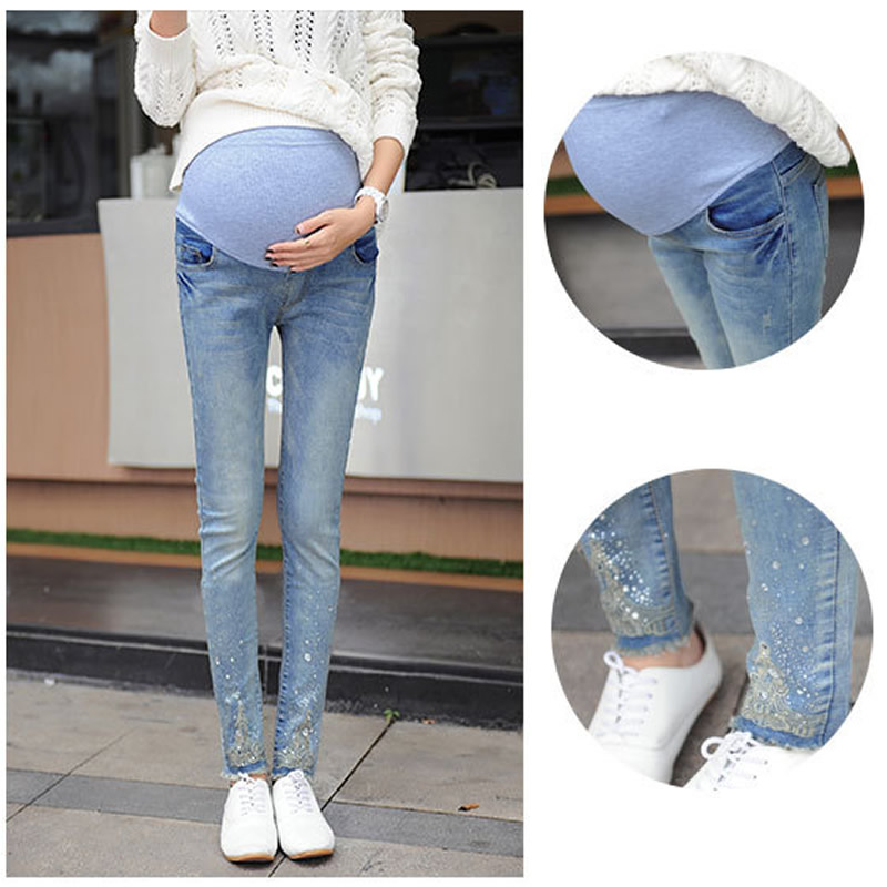 Denim overall Maternity Jeans pencil Prop adjustable belly Maternity Pants for pregnancy woman trousers grossesse leggings 3XL image
