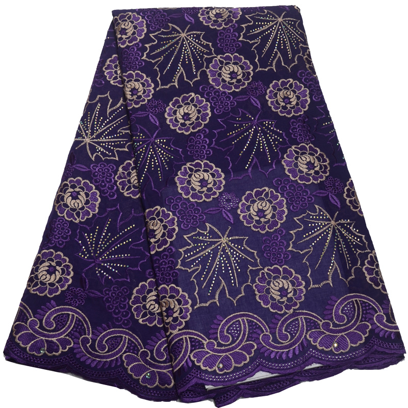Free shipping (5yards/pc) 2019 African Swiss voile lace fabric in purple with wonderful embroidery and stones for party CLP336Free shipping (5yards/pc) 2019 African Swiss voile lace fabric in purple with wonderful embroidery and stones for party CLP336