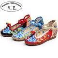 Bordados Mulheres Flats Sapatos de Tecido De Linho de Algodão do vintage com Tira No Tornozelo Ladies Casual Chaussure Ballet Tela Plana Sapato Feminino