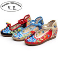 Vintage Embroidery Women Flats Shoes Linen Fabric Cotton Ankle Strap Ladies Casual Canvas Ballet Flat Chaussure Sapato Feminino