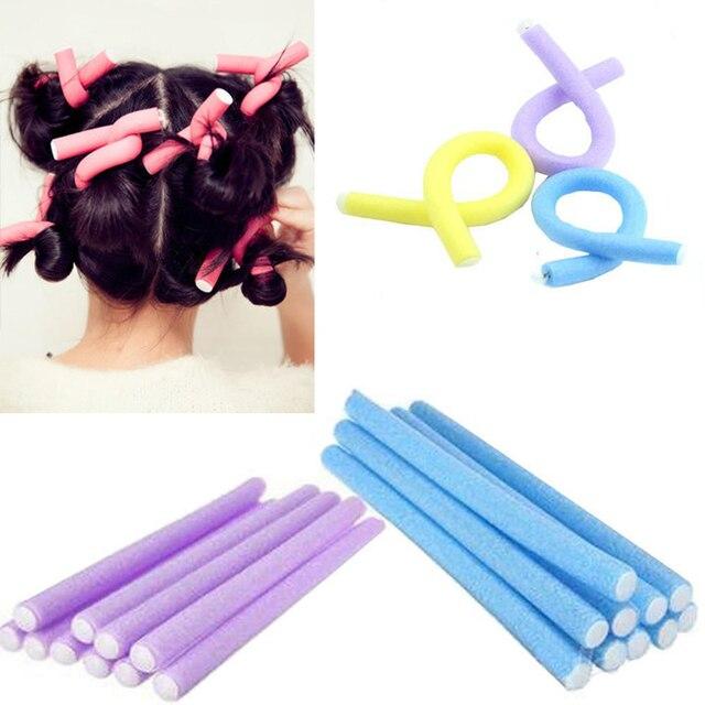 100Pcs Soft Foam Hair Styling DIY Rollers Curler Makers Bendy Twist Curls Tool Bendy Roll Magic curlers Epacket Random color