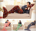 Blanket+Pillow Mermaid Tail Fleece Blanket Lap Throw Bed Wrap Fin Warm Cocoon Costume Girls Sleeping Bag Pillow