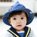 Del otoño del resorte 1 unidades hermoso sol sombreros del casquillo del bebé, del verano del muchacho / de la muchacha sunbonnet, Kid estrella sombreros del cubo