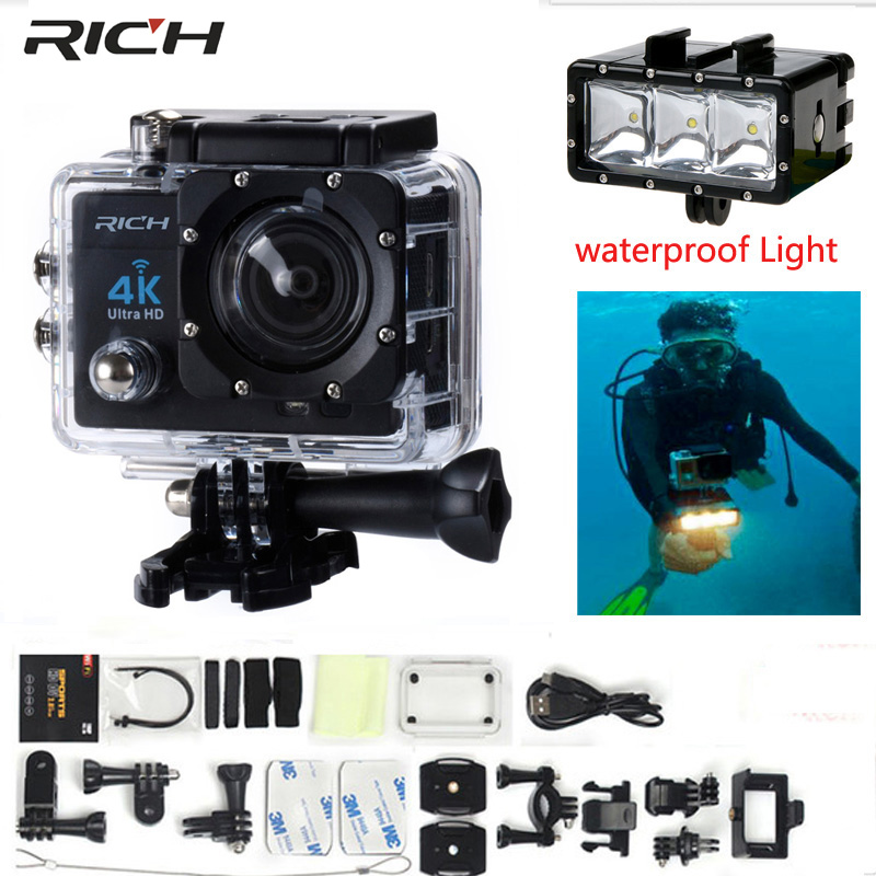 Action Camera 4K Wifi Ultra HD 1080P   Waterproof 30M Mini Cam Bike Outdoor DV Sport Camera+Waterproof Light