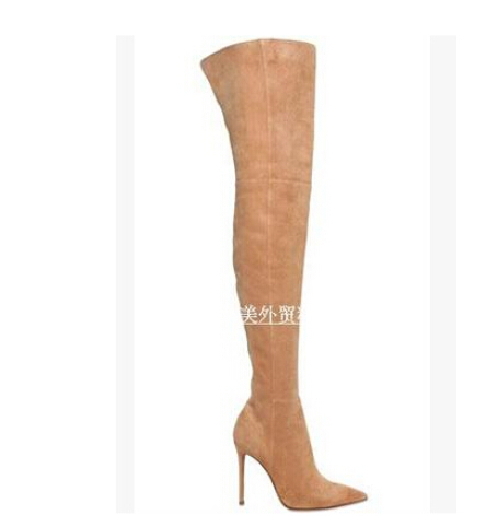 Sexy pointed toe over the knee boots woman designer thin heeled boot stretch suede leather thigh high boots
