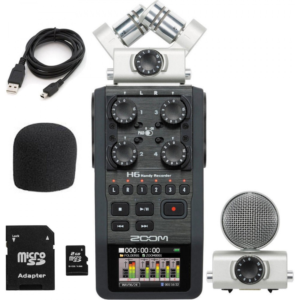 Zoom H6 portable professional handheld digital recorder H4N upgraded section Handy 6-Track for interview X/Y Side Mic 2GB