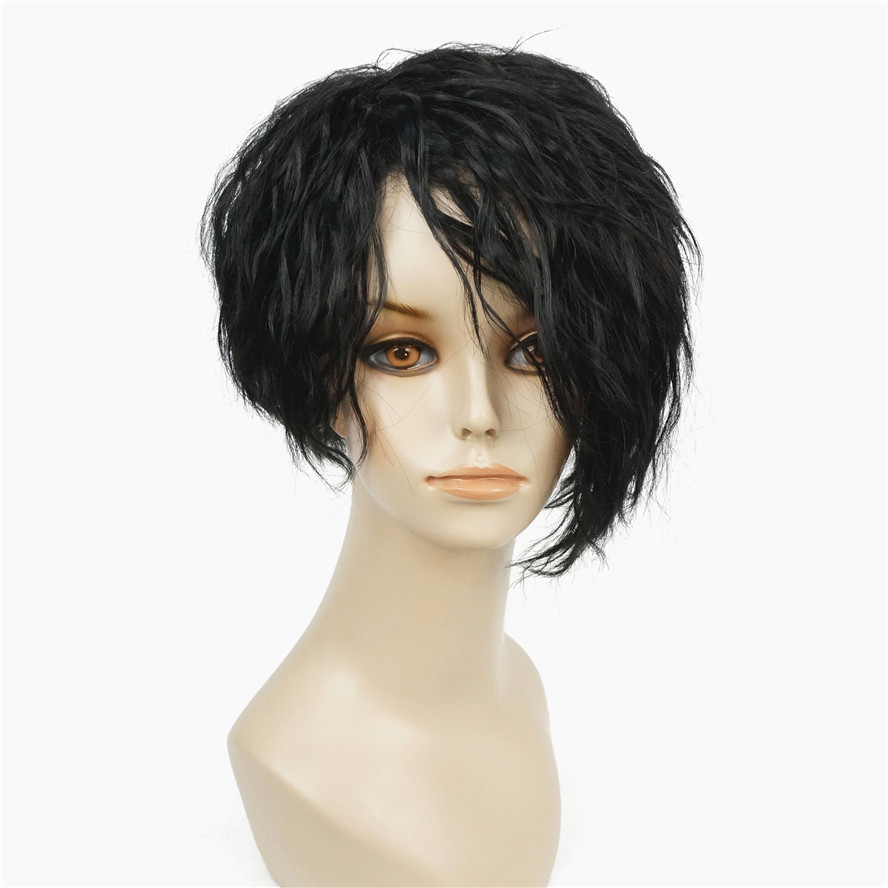 StrongBeauty African American Wigs Asymmetric Inclined Bangs Black Short Curly Bob Natural Synthetic Full Wig