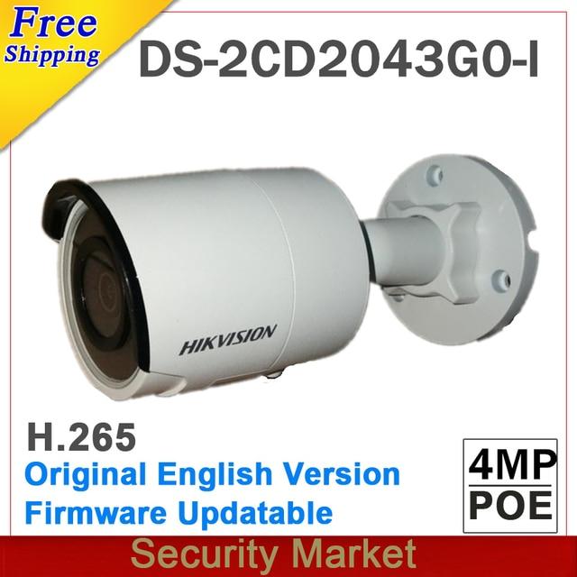 Ban Đầu Hikvision Tiếng Anh DS 2CD2043G0 I Thay Thế DS 2CD2042WD I 4MP Mạng IP Bullet IR Camera POE Khe Cắm Thẻ SD H265 264