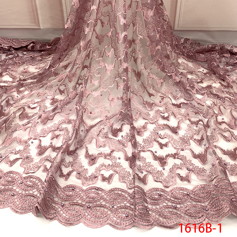 Lace-Fabric Nigerian African With Beads For Dresses KS1616B-1 Tulle Embroidered High-Quality