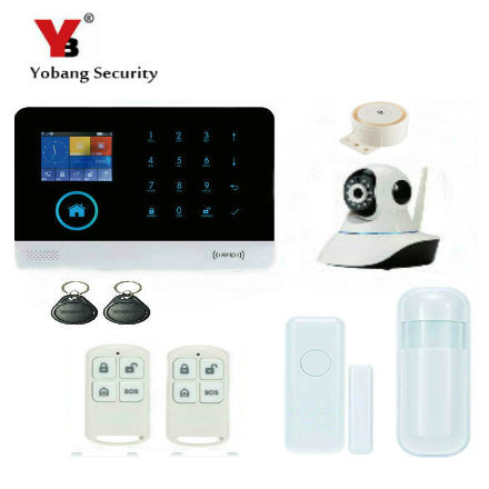 YobangSecurity Touch Screen Wireless Wifi GSM RFID Home Office Security Burglar Intruder Alarm With Wireless IP Camera Siren 433mhz wireless keypad wireless siren led touch screen gs g90b wireless gsm wifi gprs burglar home security alarm system