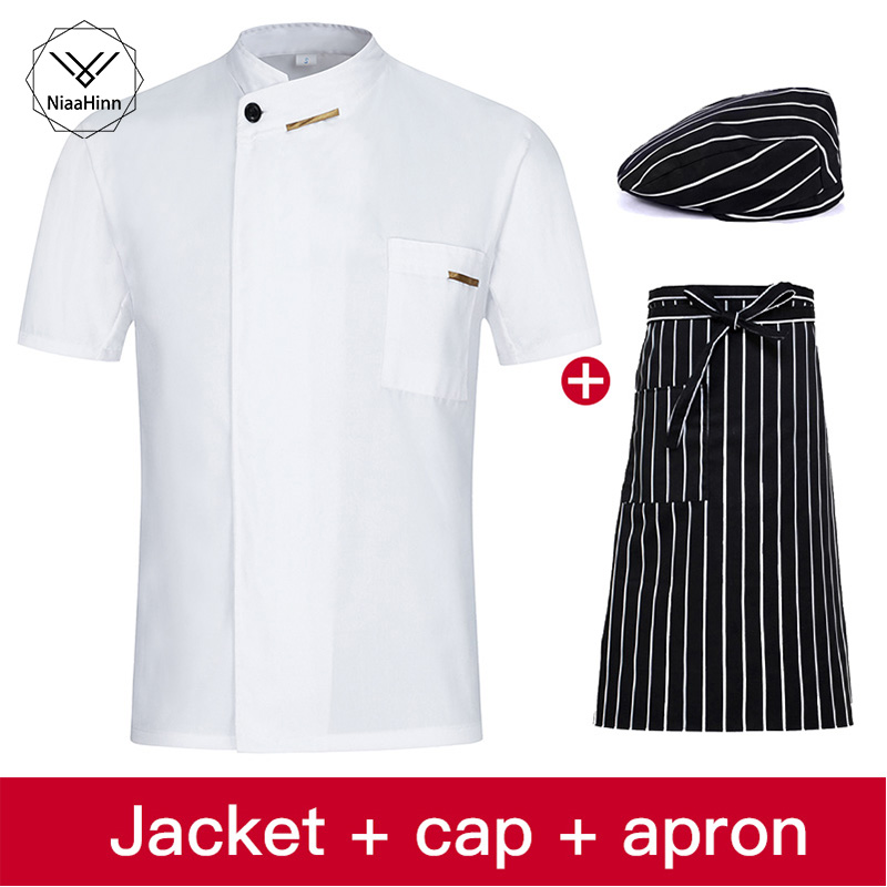 Chef Uniforms Clothing Summer Short Sleeve Chef Service Hotel Restaurant Kitchen Clothes Uniform Chef Jackets Women Men Chef Hat