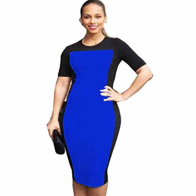 Nice-forever  Pinup Rockabilly Women's Summer Round neck Formal  Business Party Lady Short Sleeve Pencil Bodycon Dress 483