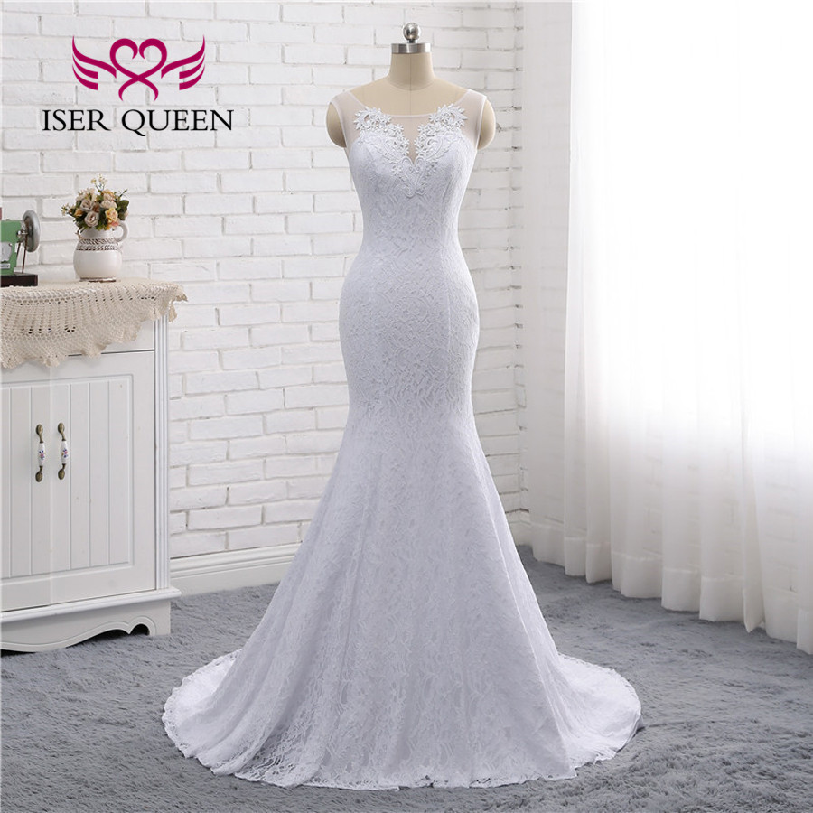 Simple Elegant Lace Mermaid Wedding Dresses 2019 African