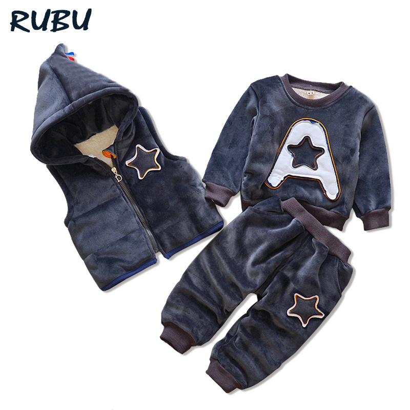 Baby Girl Boys Clothes Sets 2017 Winter Children Hoodie Cotton-padded Coat+Vest+Pants 3 Pcs Suits Kids Infant Warm Outdoor Suits 2017 winter baby girls boys clothes sets children down cotton padded coat vest pants kids infant warm outdoor suits