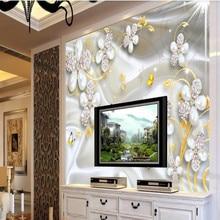 Three-dimensional jewel flower luxury background wall