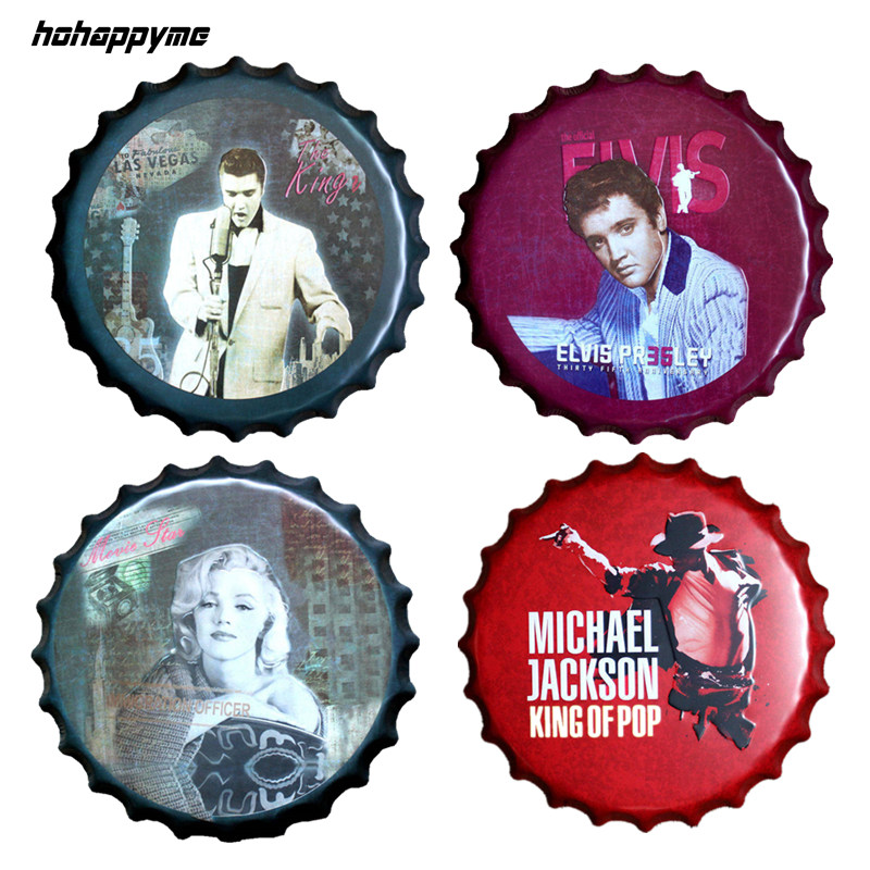 Elvis Presley Relief Bottle Cap The King Jackson Vintage Tin Sign Bar Pub Hemväggdekor Metallkonstaffisch 40 CM