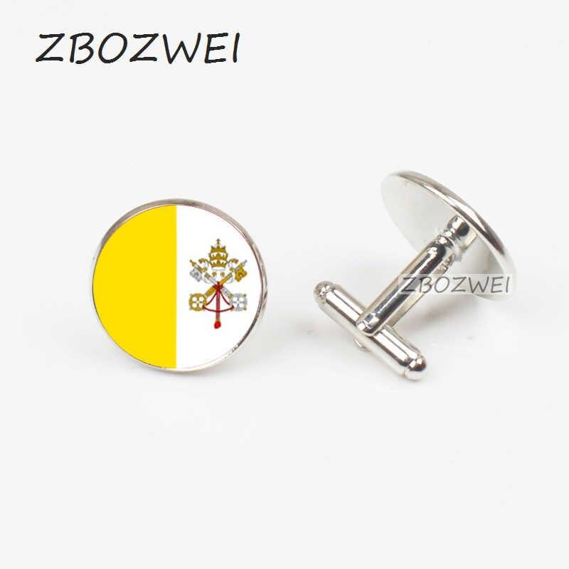 ZBOZWEI 2018 klasik düğün kol düğmeleri kol düğmeleri erkekler vatikan ulusal bayrak kol düğmeleri gümüş renk kaliteli marka erkek moda hediye
