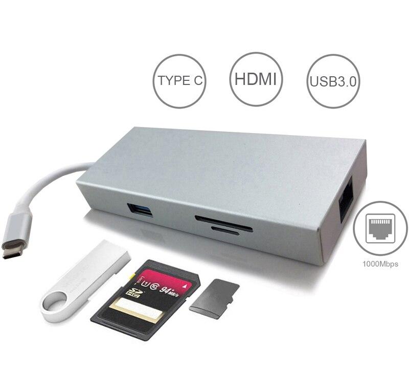 7in1 USB C HUB avec Type C PD Puissance 4 K HDMI Vidéo SD TF lecteur de cartes Gigabit carte ethernet USB-C USB 3.0 HUB Combo pour Macbook