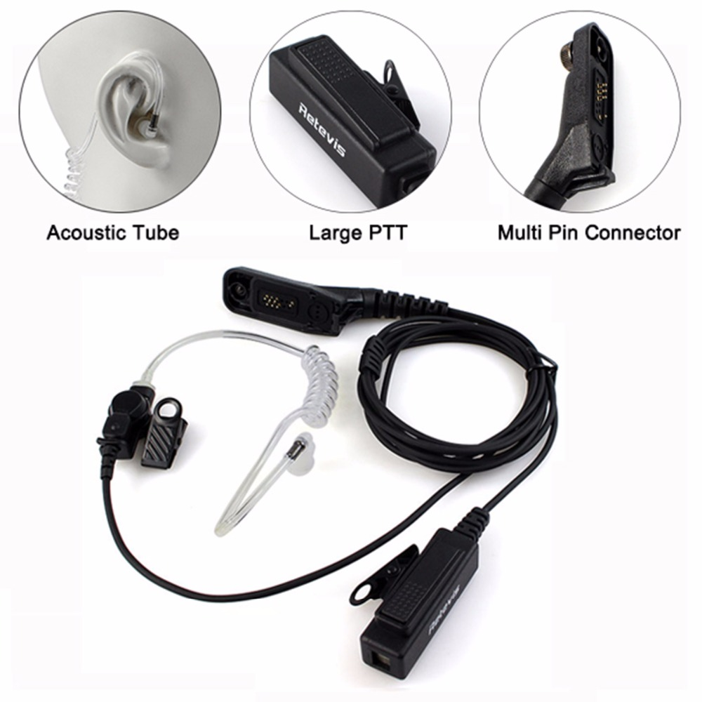 Retevis R-1M21 Two-wire PTT Acoustic Tube Earpiece For Motorola XPR6000 XPR6550 DP4800 DP4801 P8268 Walkie Talkie C9048A