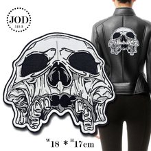 Large Skull 18x17cm Embroidery Biker Patches for Clothing Decorations Back Clothes Iron on Patch Sewing Stickers DIY Big JODc