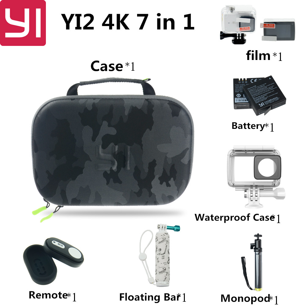 7 in 1 Xiaomi Yi 2 4k Action Camera Accessories Set with Waterproof Case Bluetooth Selfie