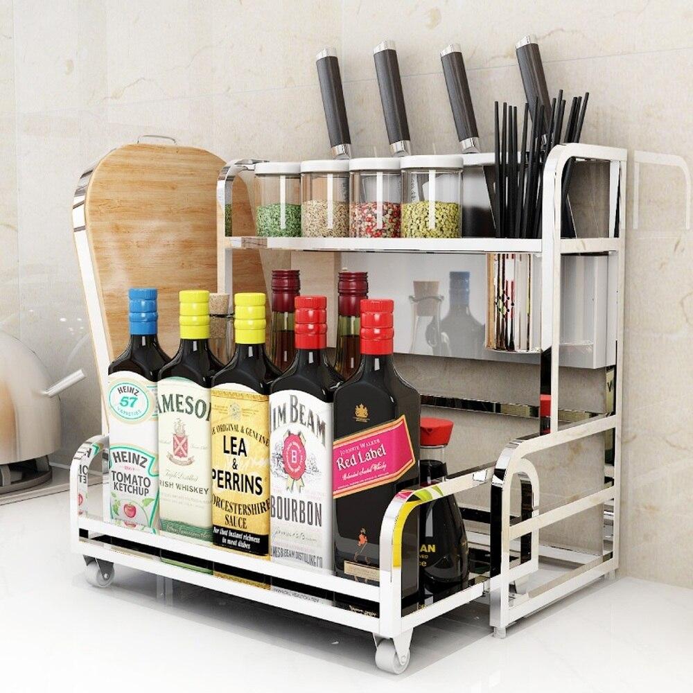 Acier inoxydable étagère de la cuisine 2 couches ustensiles de cuisine mis assaisonnements épices rack multi-fonctionnelle étagère de rangement wx8141726