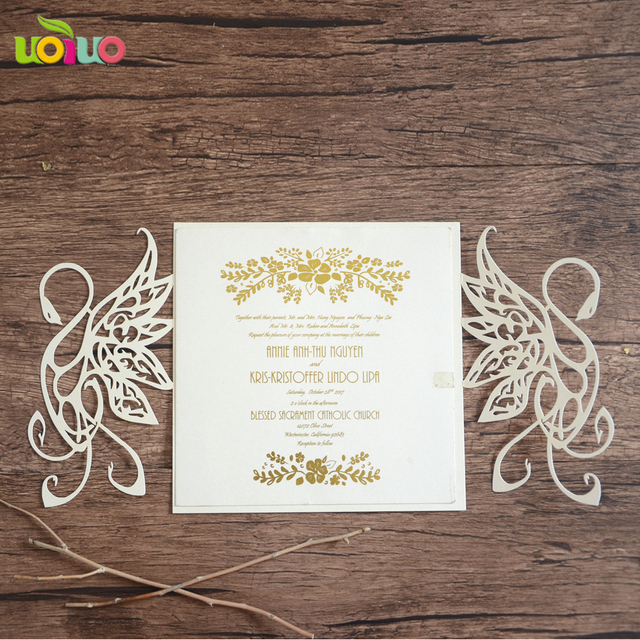 10pcs hollow out decorative pattern swan wedding invitation card