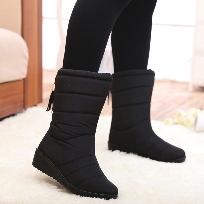 Women Boots Fashion Mid-Calf Winter Shoes For Women Snow Boots Shoes Wedge Heels Botas Mujer Tassel Causal Winter Boots Female fashion tassel and cross straps design mid calf boots for women