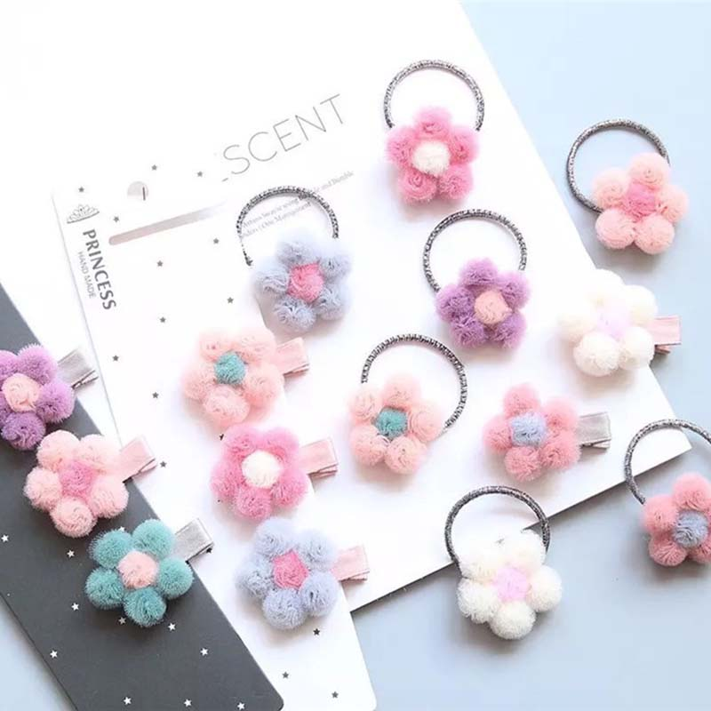 MIXIU 2pcs Lovely Litlle Girls Flower Hair Clips Hairpins With Candy Colors Elastic Hair Bands Ponytail Holder Hair Accessories
