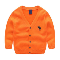 Boys And Girls V V Neck Cardigan Deer Embroidery Sweater