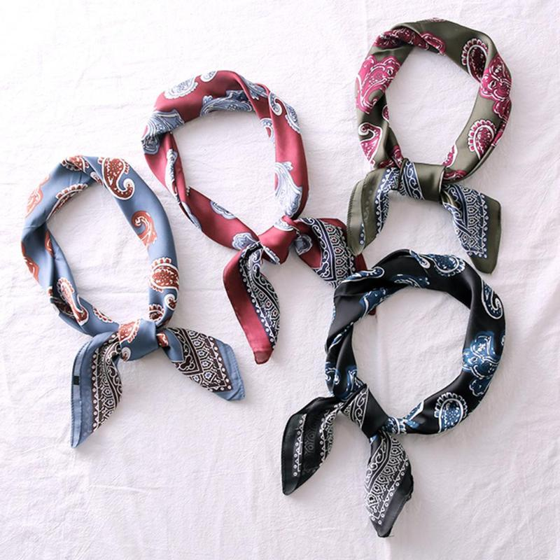 21 Pattern Korean Style Women Square Imitate Silk Scarf Hotel Waiter Business Print Women Fashion Head Scarves Bag Ribbon Female