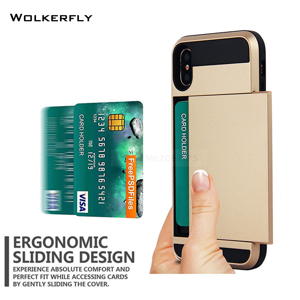 Slide Wallet Credit Card Slot Hard PC Phone Case For Apple iPhone 6 6S 7 Plus 5 5S SE Dual Layer TPU Armor Shockproof Back Cover slide wallet