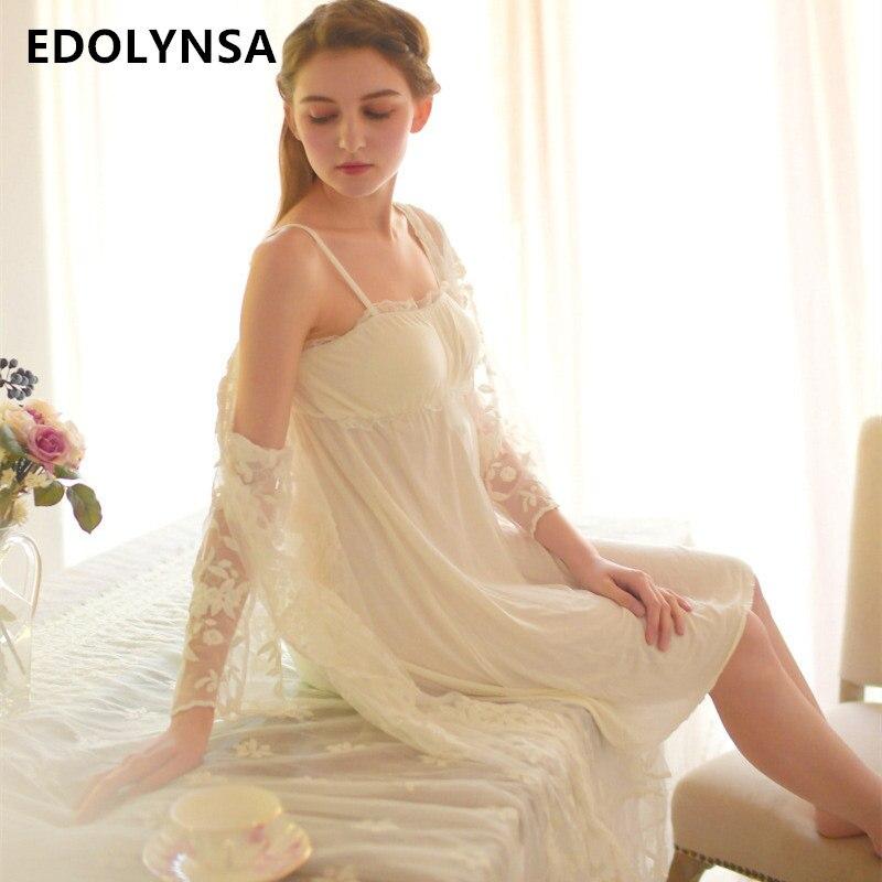 Sexy Babydoll Robe & Gown Set Kimono Luxury Lace Negligee Women Summer Autumn Peignoir Sets Spaghetti Strap Cotton Sleepwear T12 ...