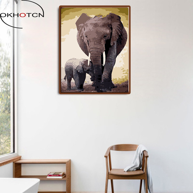OKHOTCN Framed Wall Paint Pictures Painting By Numbers Elephant ...