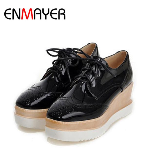 Enmayer dot decoração de tamanho grande 34-43 mulheres bombas de salto alto sapatos da moda rendas até cunhas primavera plataforma ocasional sapatas das mulheres