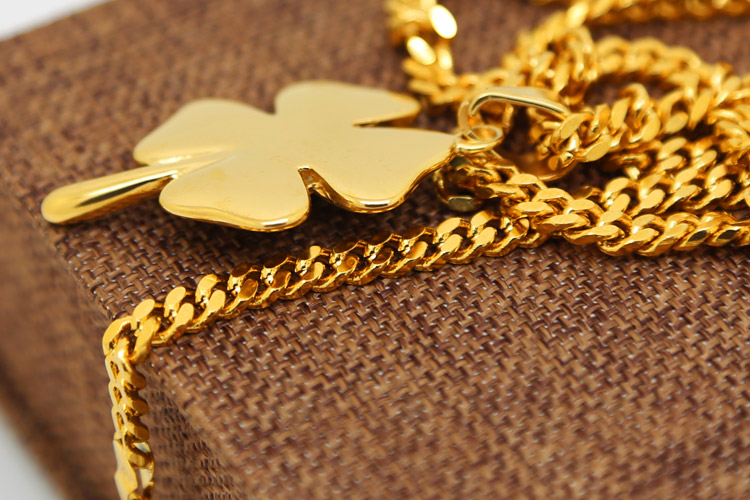 Shamrock necklace 24k yellow gold color four leaf clover irish lucky shamrock necklace 24k yellow gold color four leaf clover irish lucky charm with cuban chain hip hop necklace unisex jewelry in pendant necklaces from aloadofball Gallery