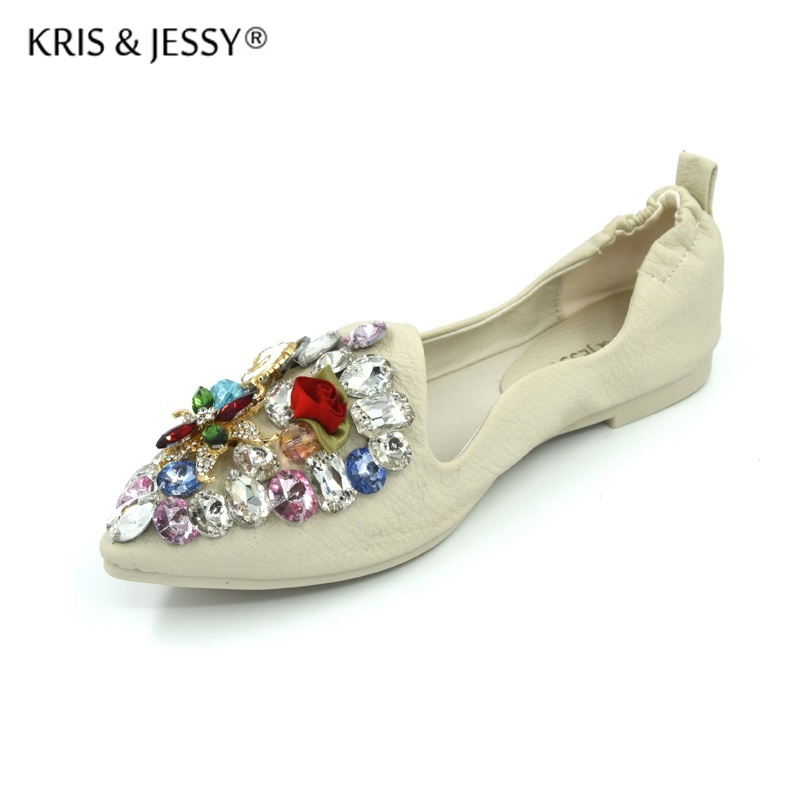 Women Crystal Rhinstone Ballet Flats Spring Autumn Solid Gold Silver Bling Pointed Toe Slip-On Flat Shoes Woman 2018 autumn spring women flats rose gold silver rivet sequins shiny designer casual shoes women s golden bling shoes woman